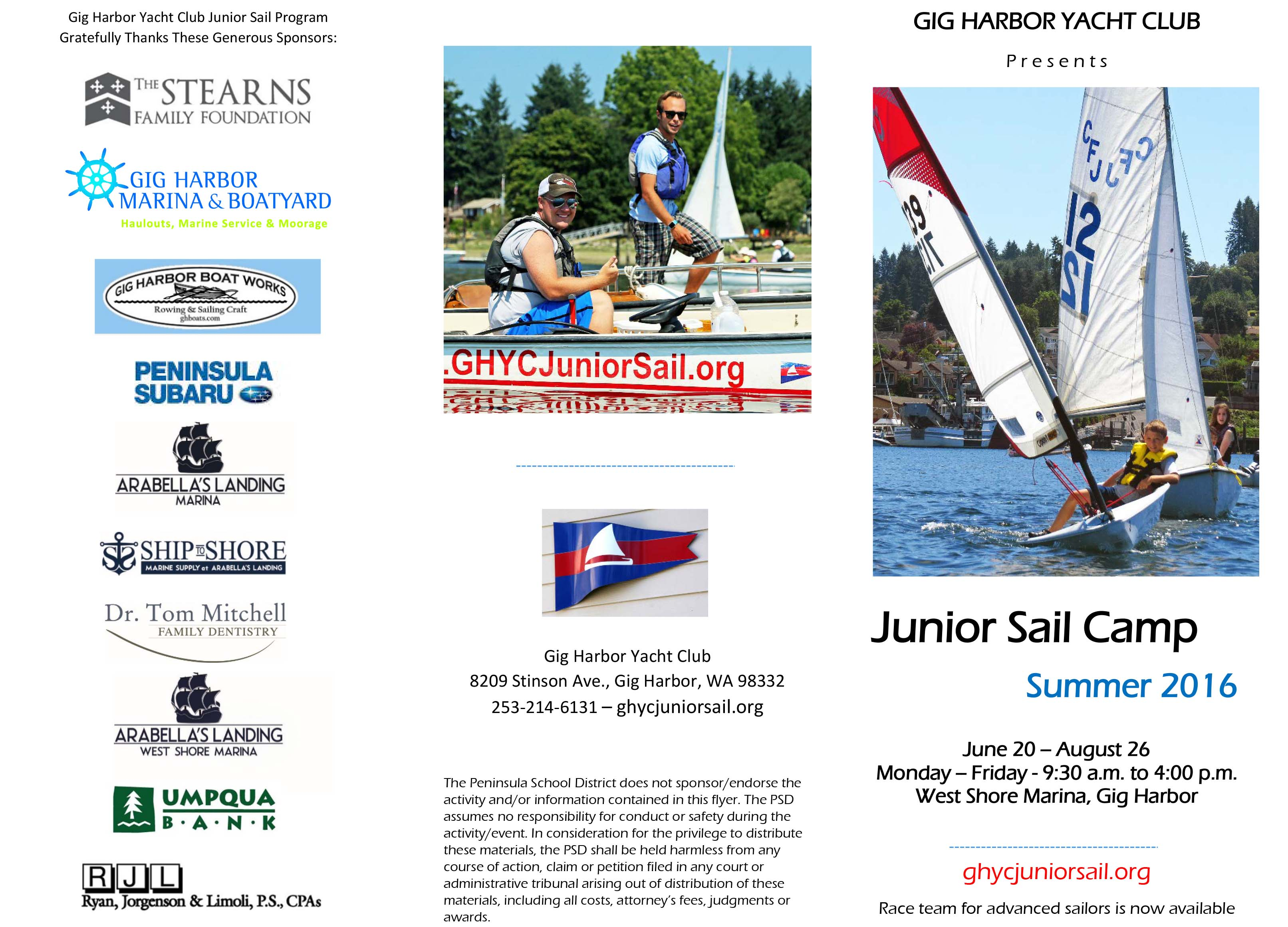 GHYC Junior Sail Camp Summer 2016 1